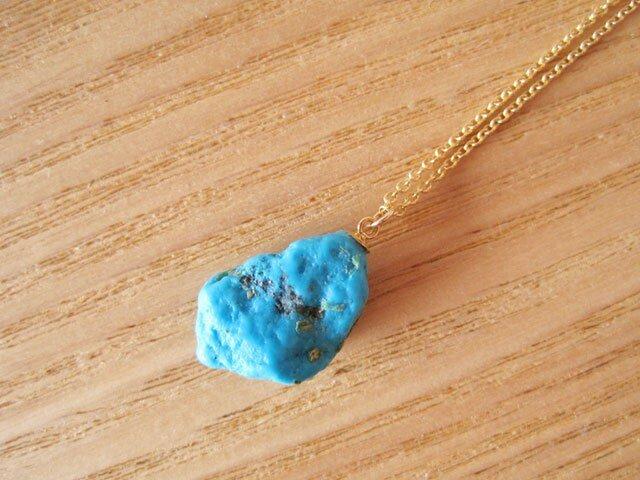 スリーピングビューティー(アリゾナ産ターコイズ)の原石ネックレス  14kgfの画像1枚目