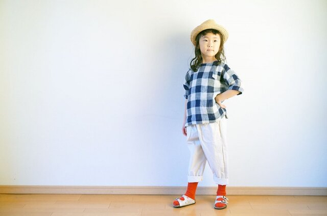 +SALE+ JAPAN Linen Check Blouse 120sizeの画像1枚目