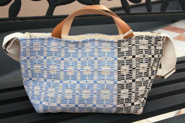 北欧手織りトートバッグ(ブルー×ブラック)の画像1枚目