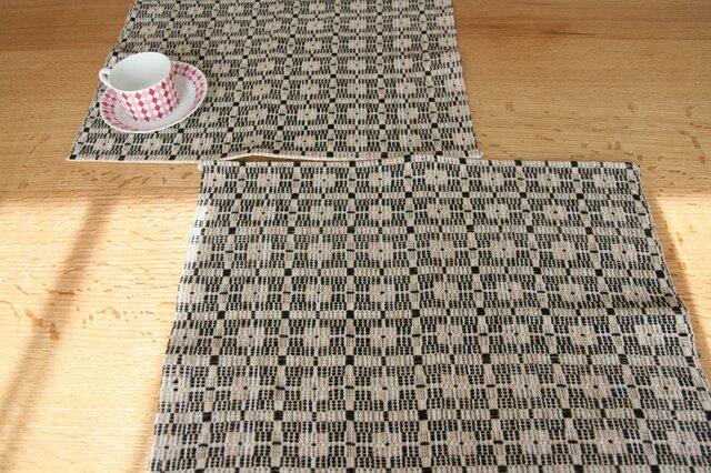 北欧手織りのランチョンマット(ブラック)の画像1枚目
