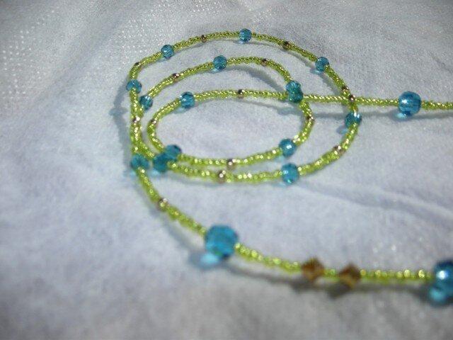 シンプルなメガネストラップ青&緑の画像1枚目