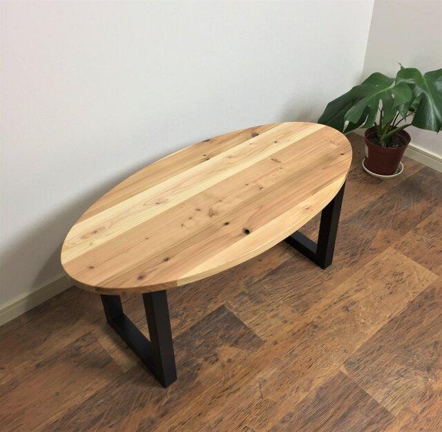 国産杉の無垢材を使ったローテーブル 45x90cm オーバル・楕円形 クリアー塗装 【オーダー可能】の画像1枚目