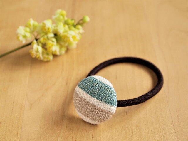手紡ぎ手織りのヘアゴム  ボーダーの画像1枚目