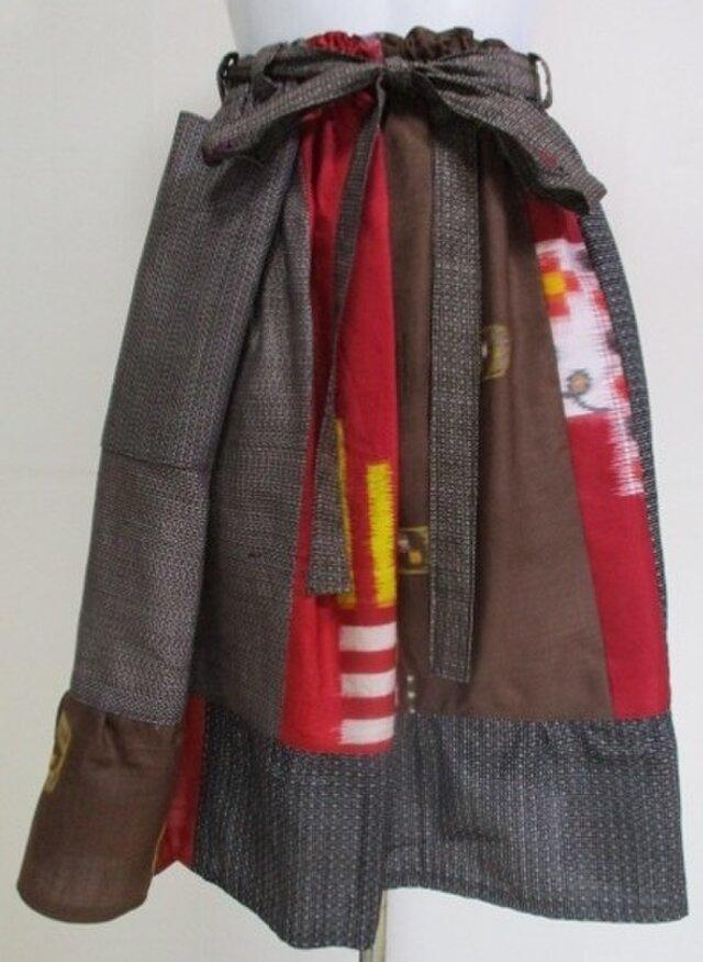 着物リメイク 銘仙と大島の着物で作った膝丈スカート 2257の画像1枚目
