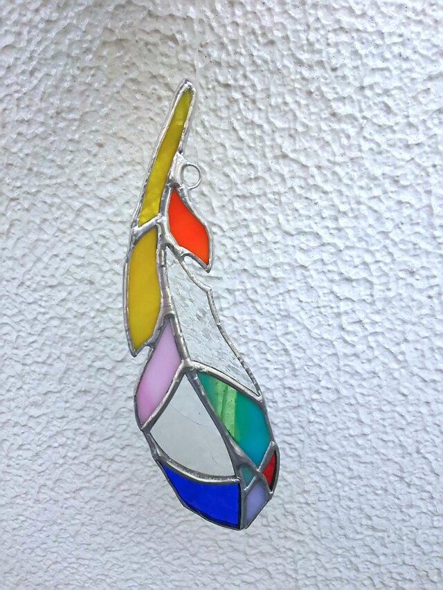 ★feather★オーナメント★color×透明(ステンドグラス)の画像1枚目