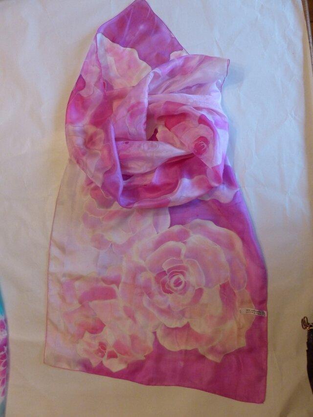 手描き 柔らかシルクスカーフ 紫の薔薇の画像1枚目