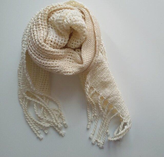 再販 UV防止 手織りシルクコットンミニストール レース織り 白&アイボリーの画像1枚目