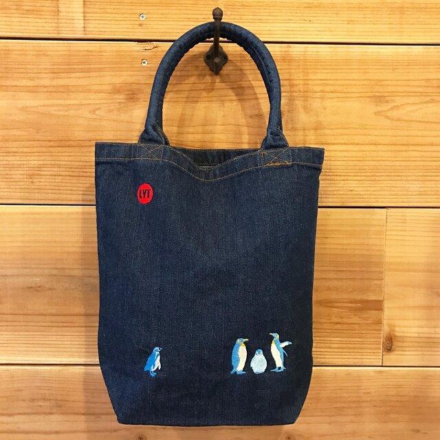 ペンギン 刺繍 Bigデニムトートの画像1枚目