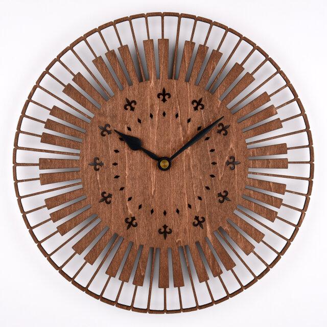 木の壁掛け時計E 鍵盤(木製ウォールクロック)の画像1枚目