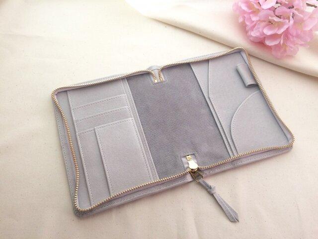 春色淡いグレーの手帳ケース文庫本サイズの画像1枚目