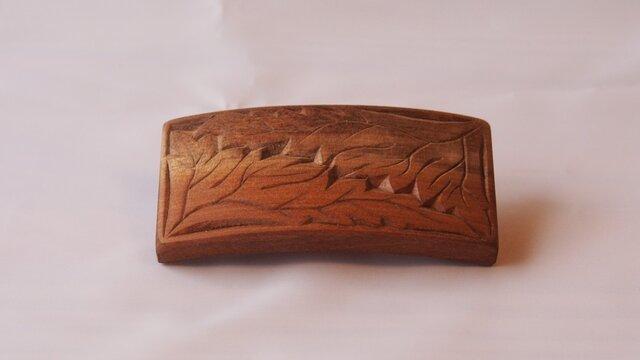 #9 チップカービングバレッタ 【木工彫刻】の画像1枚目