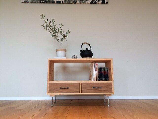 桧×楢(オーク) 使い勝手のよいサイドテーブルWサイズの画像1枚目