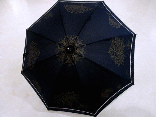 日傘(花更紗Ⅲ・紺地)の画像1枚目