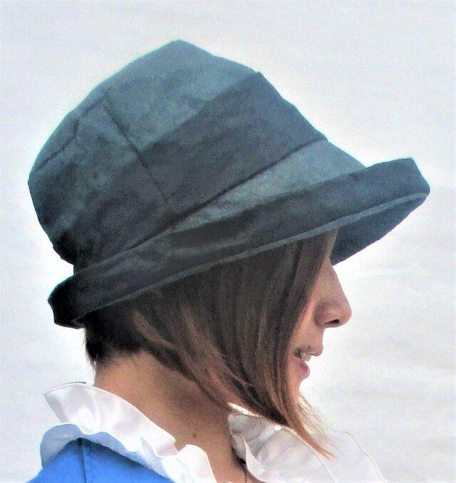 機能性和紙帽子グリーン色と黒色の和紙帽子の画像1枚目