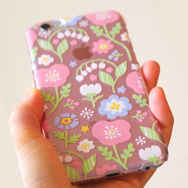 iPhoneハードケース【春待ちパステルフラワー*Pink】の画像1枚目