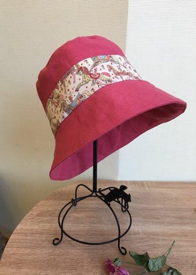 リネン×リバティMy Little Pace 帽子 60の画像1枚目
