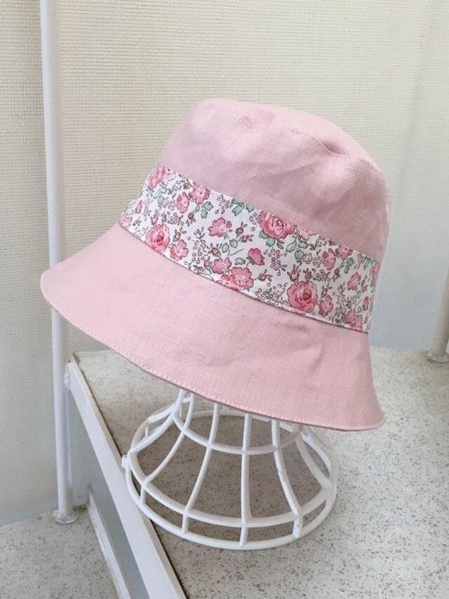 リネン×リバティFelicte 帽子 58の画像1枚目