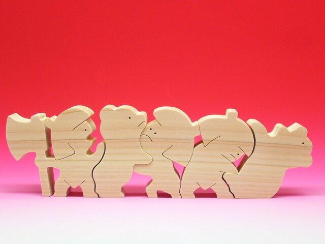 送料無料 木のおもちゃ 動物組み木 クマと金太郎の画像1枚目