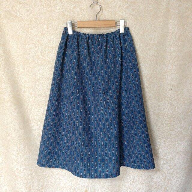 ウール着物地ギャザースカート 小花ストライプの画像1枚目