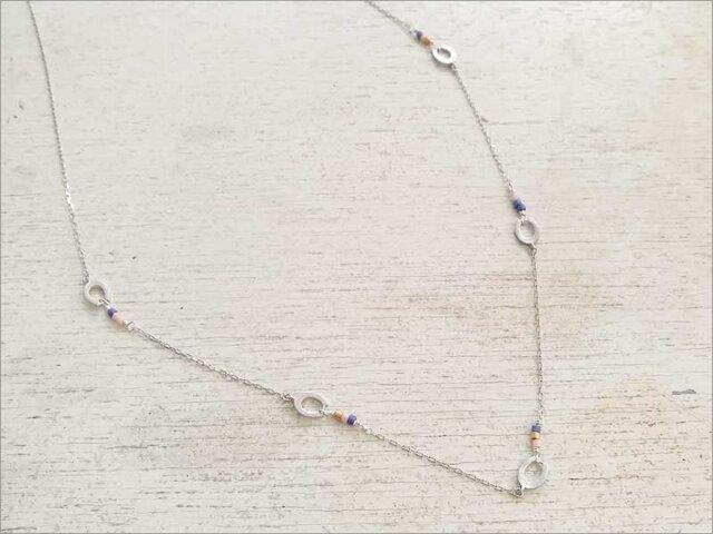 馬蹄ネックレス(銀×青)の画像1枚目