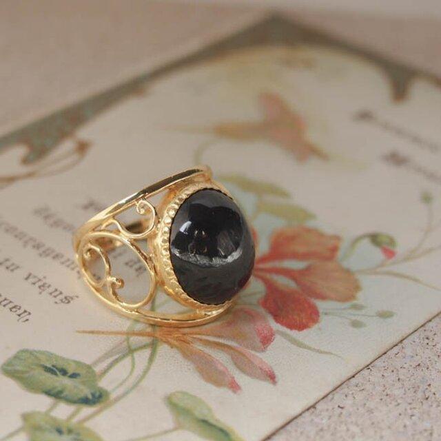 arabesque ring gd (ブラックスター)【FR075】の画像1枚目