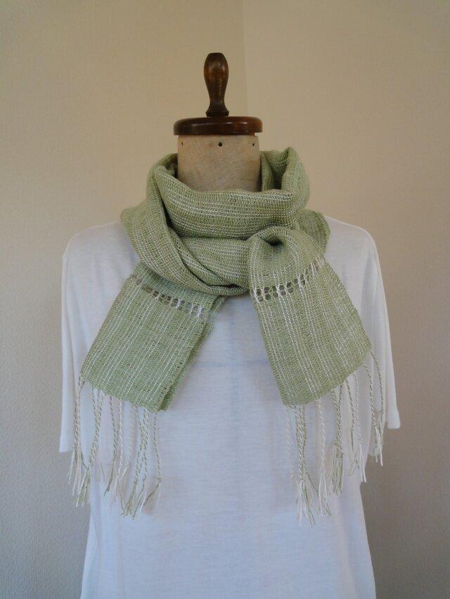 手織り 麻糸ストールの画像1枚目