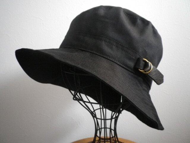 [再販3]革ベルトのハット(ブラック)の画像1枚目