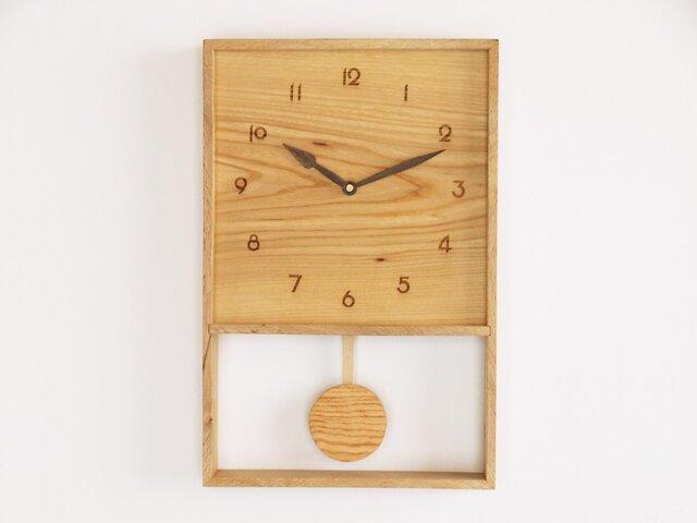 木製 箱型 振り子時計 樫材3の画像1枚目
