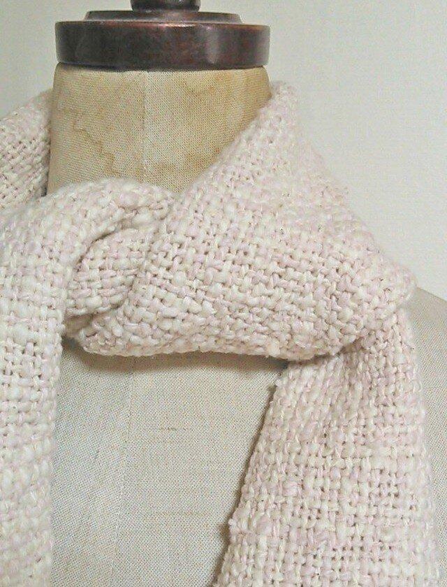 肌に気持ちいい♪手織りオーガニックコットンミニマフラー スオウ染めの画像1枚目