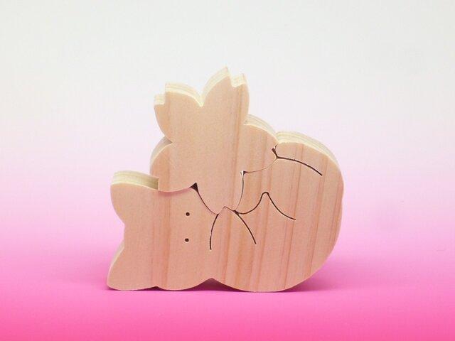 送料無料 木のおもちゃ 動物組み木 ねことさくらの画像1枚目