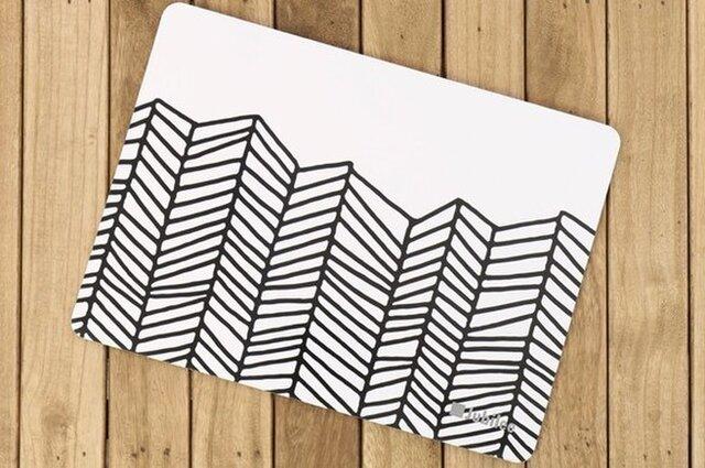 コルクマット 2枚組 ブラックホワイトウェーブ Lamoppeデザイン jubileeteatowelcpm016の画像1枚目