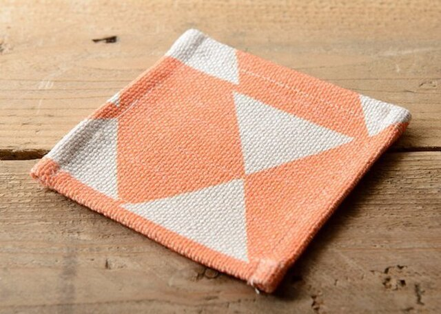 コースター 4枚セット 北欧柄 オレンジダイヤモンド 天然リネン jubileecoastercs005の画像1枚目