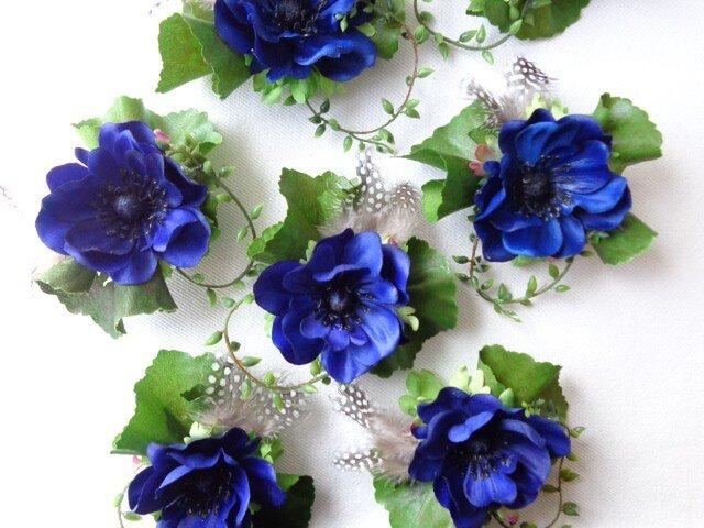 royal blue anemone コサージュ の画像1枚目