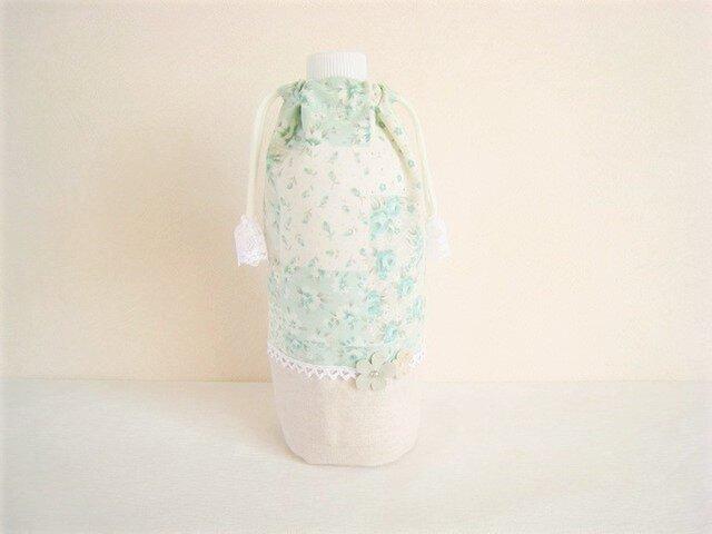 かわいいパッチワーク柄ペットボトルカバー(グリーン)の画像1枚目