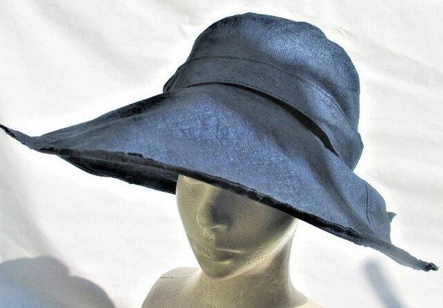 和紙機能性帽子つば広ネイビーブルー色の画像1枚目