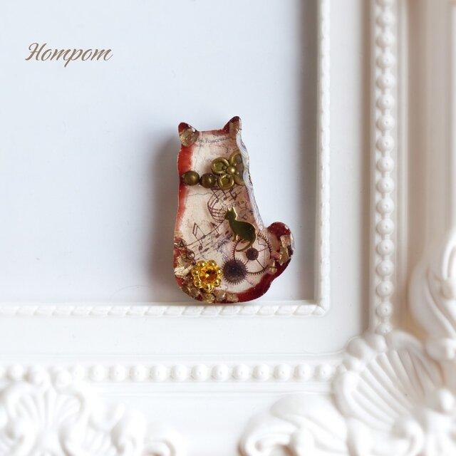 アンティークな猫のピンブローチ ホムポムの画像1枚目