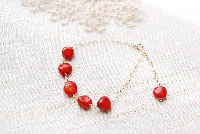 赤いサンゴのブレスレット(14kgf)の画像1枚目
