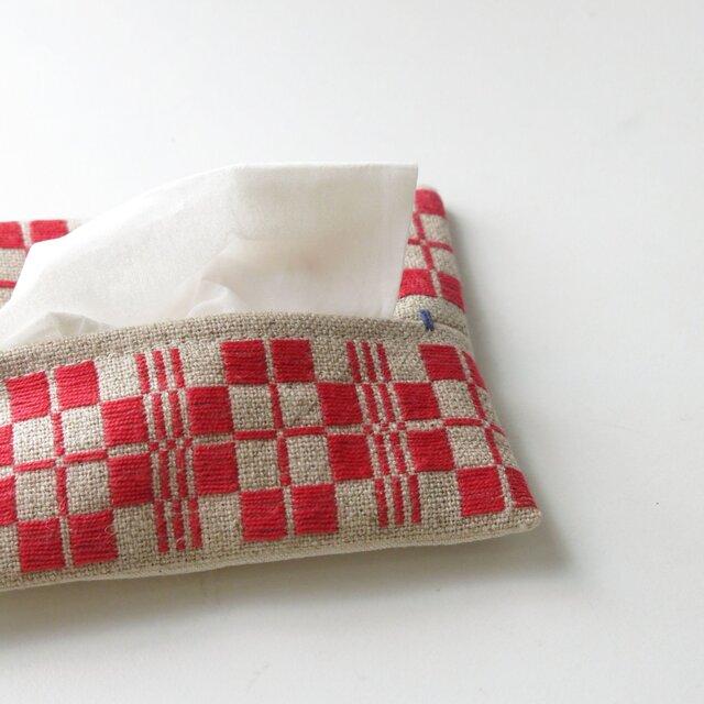 手織り布のティッシュケースAの画像1枚目
