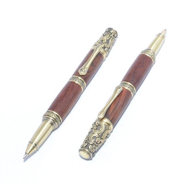 【受注製作】木製の回転式ボールペン(ココボロ;真鍮のメッキ)の画像1枚目