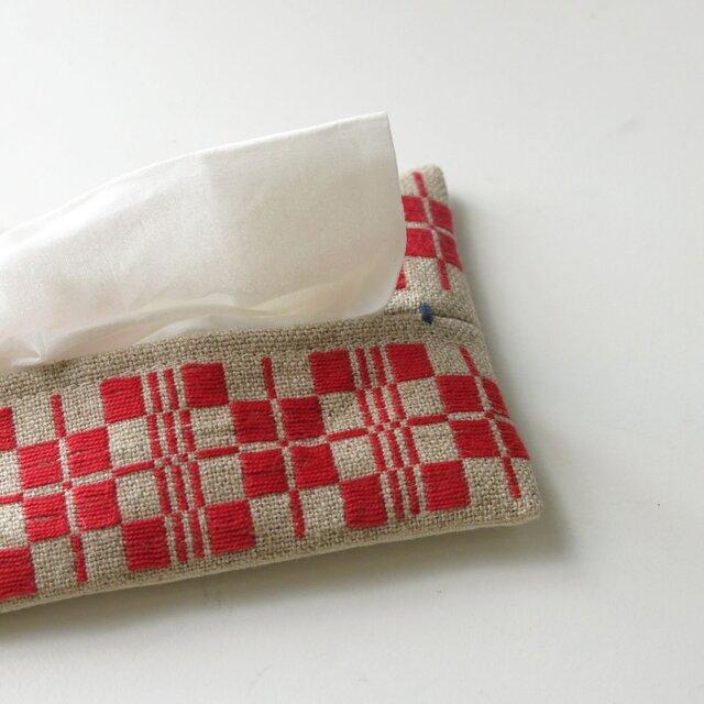 手織り布のティッシュケースBの画像1枚目