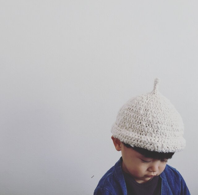 【受注製作】オーガニックコットンガラ紡ロールどんぐり帽子(生成)の画像1枚目