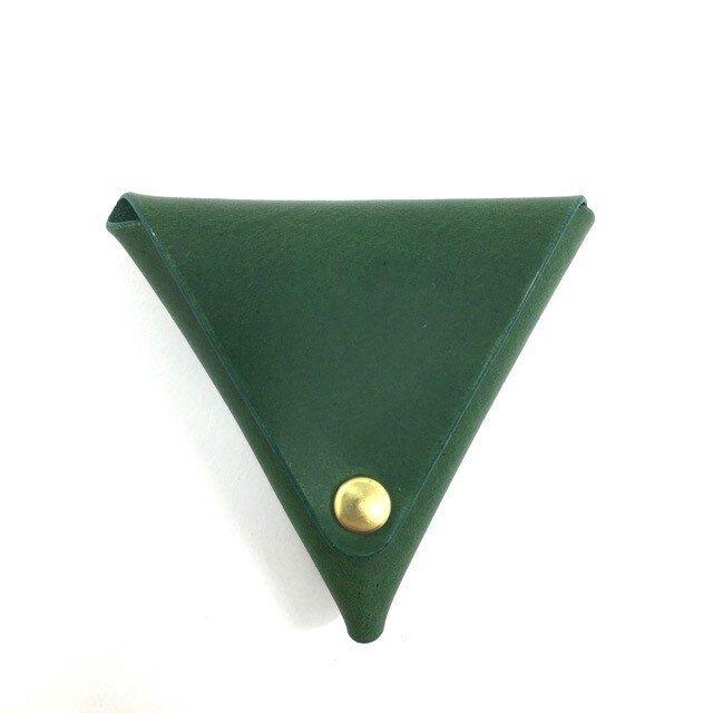 イタリアンレザーの三角コインケース【グリーン】の画像1枚目