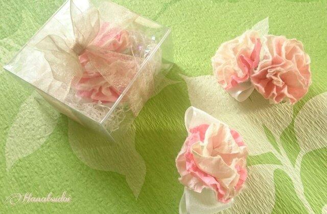 手漉き和紙 HANAコサージュ 桜色 二輪タイプの画像1枚目