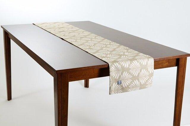 テーブルランナー 北欧柄 リーフナチュラル 天然リネン 183×30cm jubileetabletr021の画像1枚目