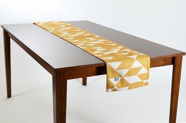 テーブルランナー 北欧 イエローマスタードダイヤモンド 天然リネン 183×30cm jubileetabletr011の画像1枚目
