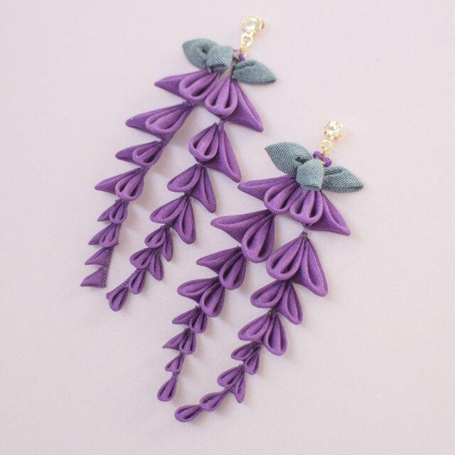 たわわに揺れる 藤の花 ピアス〈受注製作〉 つまみ細工  和  着物 春 紫の画像1枚目