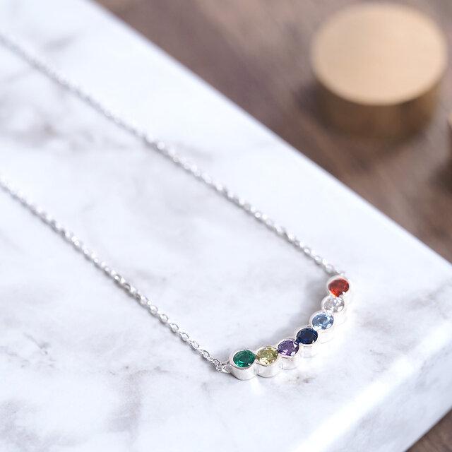 Rainbow 虹のアーチ ネックレス シルバー925の画像1枚目