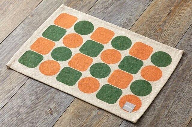 ランチョンマット 北欧柄 オレンジグリーンタイル 2枚組 リネン 45×32cm jubileeteatoweltt051ymの画像1枚目