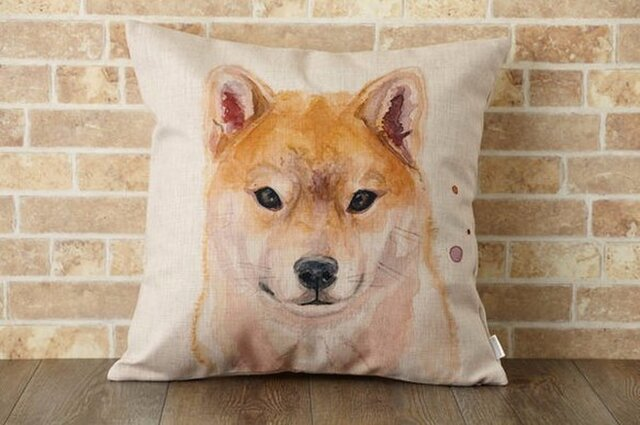 クッションカバー 45×45cm 北欧柄 柴犬 天然リネン Ginny & I jubileecushionpt009の画像1枚目