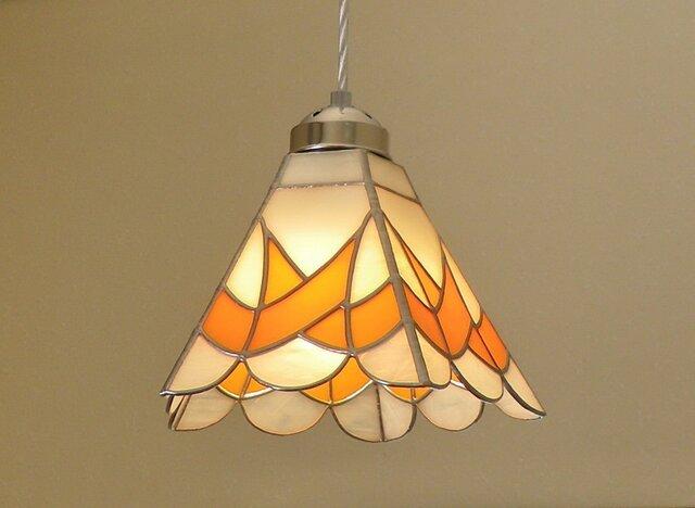 ペンダントライト・オレンジ (ステンドグラス)天井のおしゃれガラス照明 Lサイズ・10の画像1枚目
